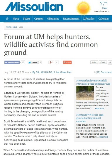 Missoulian Newspaper Article on Role of Hunting Workshop